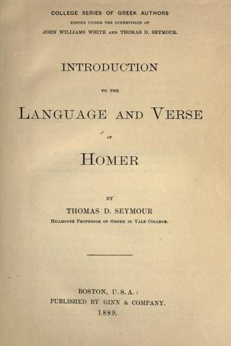 Download Introduction to the language and verse of Homer