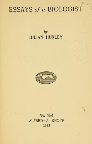 Download Essays of a biologist