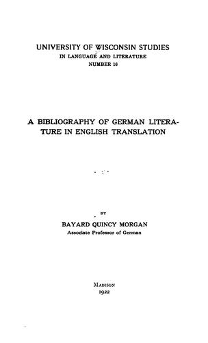 A bibliography of German literature in English translation