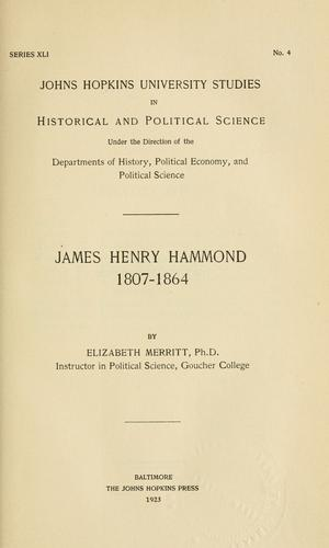 James Henry Hammond, 1807-1864