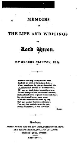 Download Memoirs of the life and writings of Lord Byron.