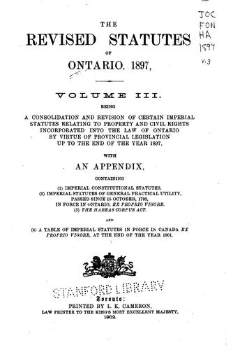 The revised statutes of Ontario, 1897