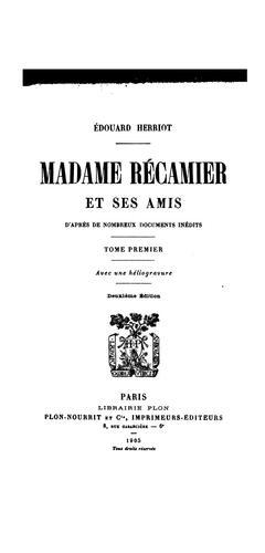 Download Madame Récamier et ses amis …