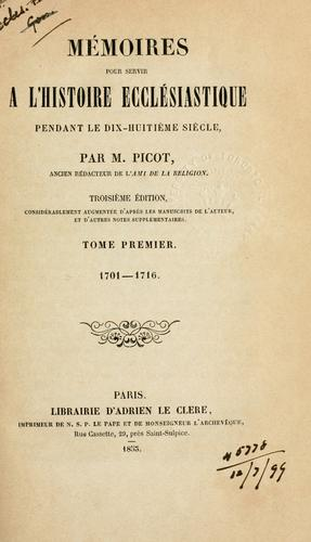 Download Mémoires pour servir à l'histoire ecclésiastique pendant le dix-huitième siècle