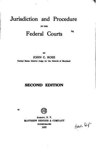 Download Jurisdiction and procedure of the federal courts