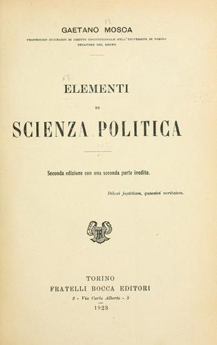Elementi di scienza politica.