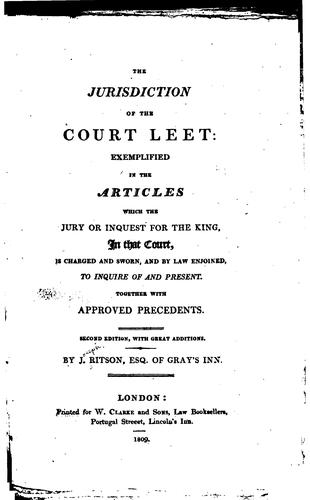 Download The jurisdiction of the Court leet