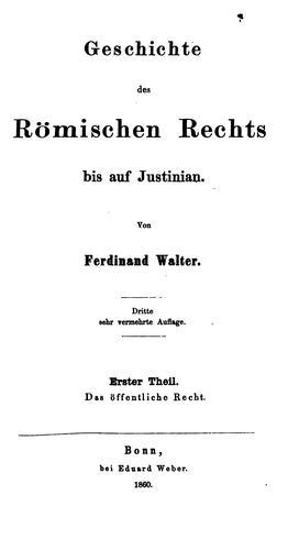Geschichte des römischen rechts bis auf Justinian.