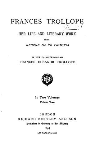 Frances Trollope by Frances Eleanor Ternan Trollope
