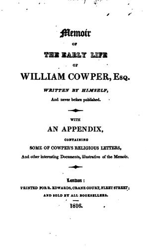 Download Memoir of the early life of William Cowper, esq.