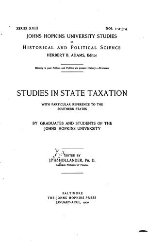 Download Studies in state taxation with particular reference to the Southern States