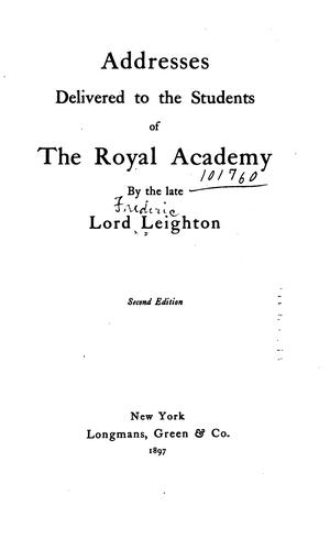 Addresses delivered to the students of the Royal academy