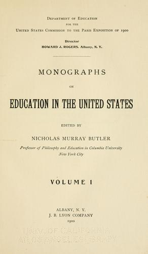 … Monographs on education in the United States