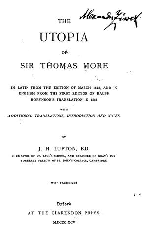 Download The Utopia of Sir Thomas More