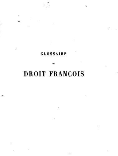 Glossaire du droit françois