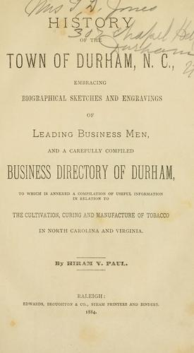 Download History of the town of Durham, N. C.