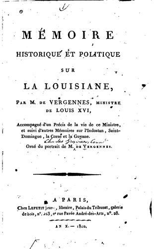 Mémoire historique et politique sur la Louisiane
