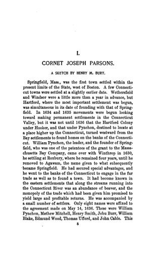 Download Cornet Joseph Parsons one of the founders of Springfield and Northampton, Massachusetts