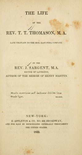 The life of the Rev. T.T. Thomason ..