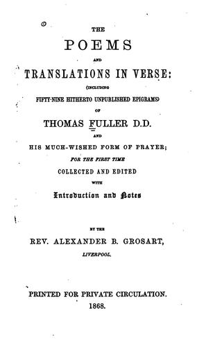 The poems and translations in verse by Thomas Fuller