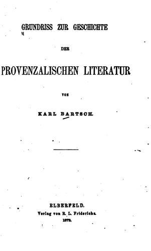 Download Grundriss zur Geschichte der provenzalischen Literatur