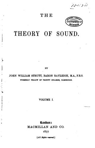 Download The theory of sound.