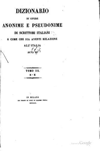 Dizionario di opere anonime e pseudonime di scrittori italiani