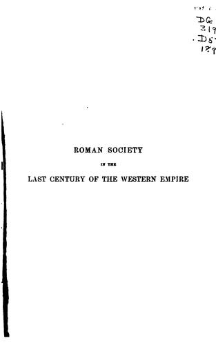Roman society in the last century of the Western Empire