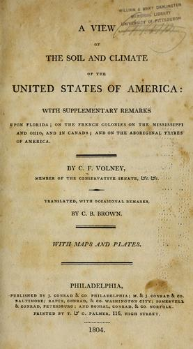 A view of the soil and climate of the United States of America by Constantin-François Volney