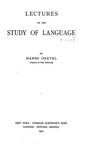 Lectures on the study of language