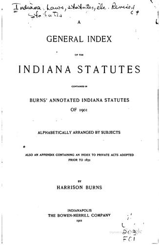Download Burns' annotated Indiana statutes