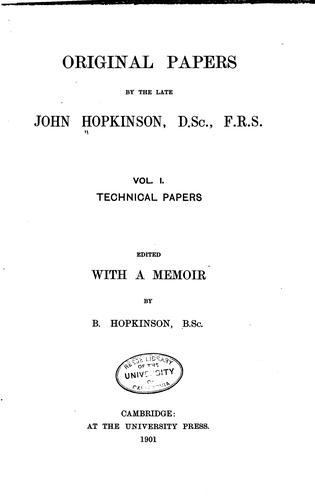 Original papers by the late John Hopkinson.