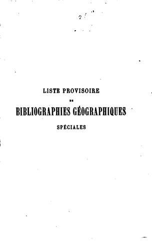 Liste provisoire de bibliographies géographiques spéciales