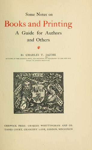 On the making and issuing of books by Charles Thomas Jacobi