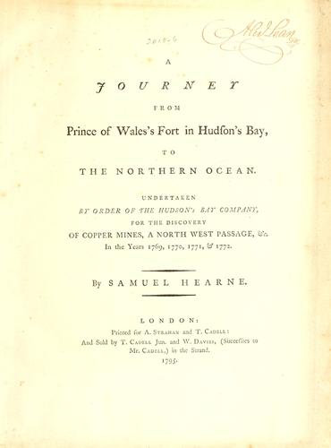 Download A journey from Prince of Wales's Fort in Hudson's Bay, to the Northern Ocean.