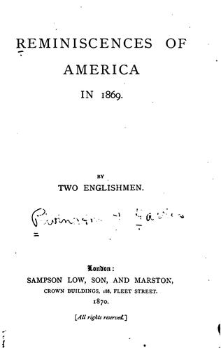 Download Reminiscences of America in 1869.