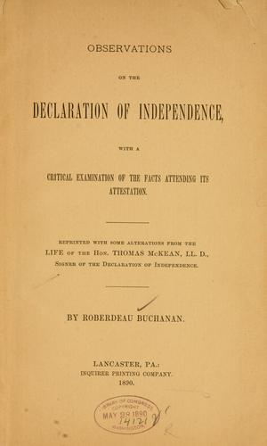 Observations on the Declaration of Independence by Roberdeau Buchanan