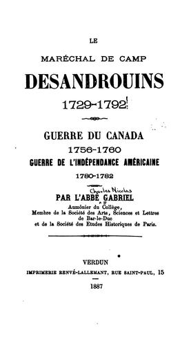 Download Le maréchal de camp Desandrouins, 1729-1792