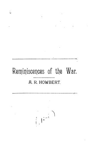 Reminiscences of the war.