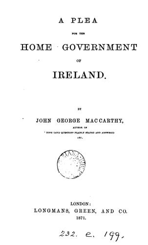 A plea for the home government of Ireland.