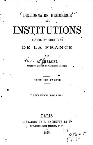 Download Dictionnaire historique des institutions