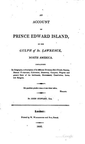 An account of Prince Edward Island in the gulph of St. Lawrence, North America.