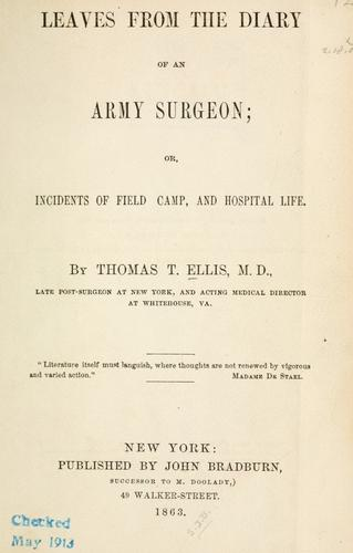 Download Leaves from the diary of an army surgeon; or, Incidents of field, camp, and hospital life.