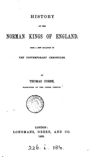 Download History of the Norman kings of England.