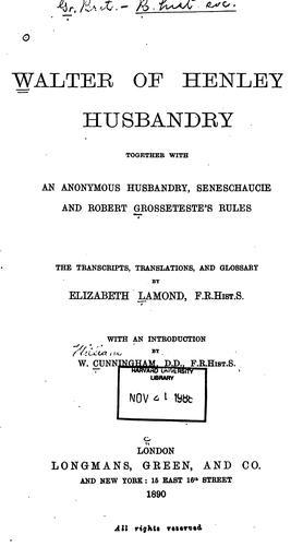 Download Walter of Henley's Husbandry