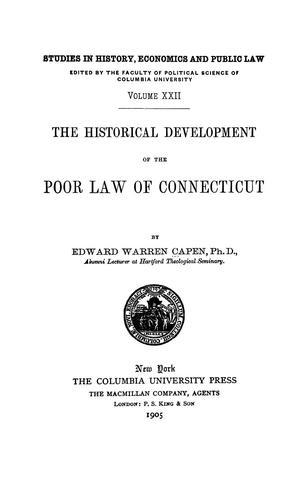 Download The historical development of the poor law of Connecticut
