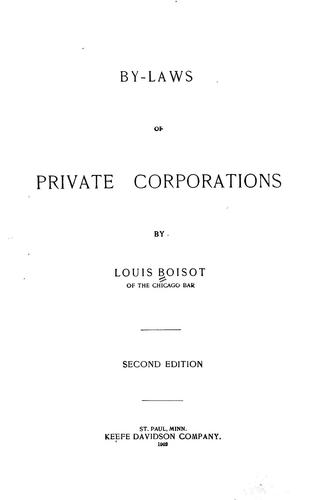 By-laws of private corporations
