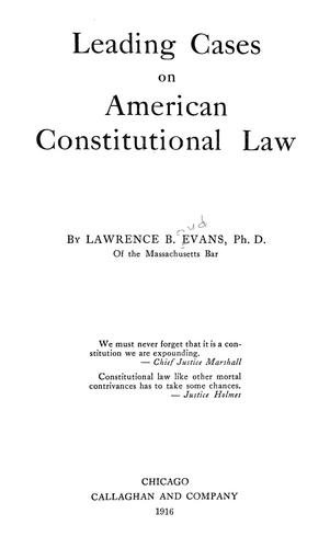 Download Leading cases on American constitutional law