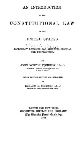 An introduction to the constitutional law of the United States