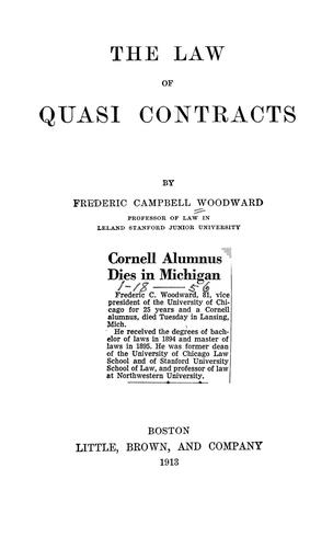 Download The law of quasi contracts